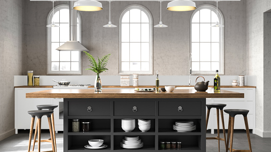 Black Color「White industrial kitchen」:スマホ壁紙(6)