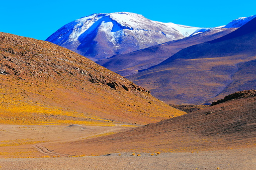 Bolivian Andes「Chilean Andes altiplano at sunrise and volcano, Idyllic Atacama Desert, snowcapped Volcanic steppe puna landscape panorama – Antofagasta region, Chilean Andes, Chile, Bolívia and Argentina border」:スマホ壁紙(5)