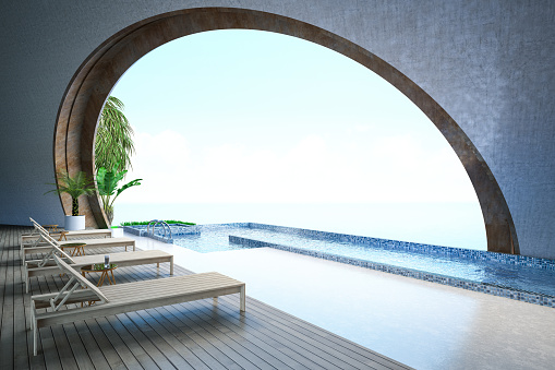 Outdoor Chair「Half Open Swimming Pool with View」:スマホ壁紙(5)