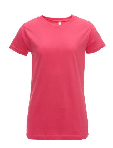 Pink Color「レディのブランクピンクの t シャツのフロント白で分離、クリッピングパス」:スマホ壁紙(17)