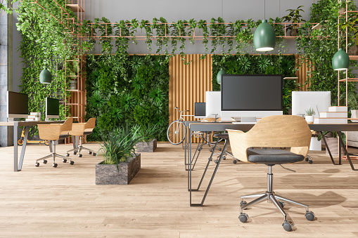 New Business「Eco-Friendly Open Plan Modern Office With Tables, Office Chairs, Pendant Lights, Creeper Plants And Vertical Garden Background」:スマホ壁紙(19)