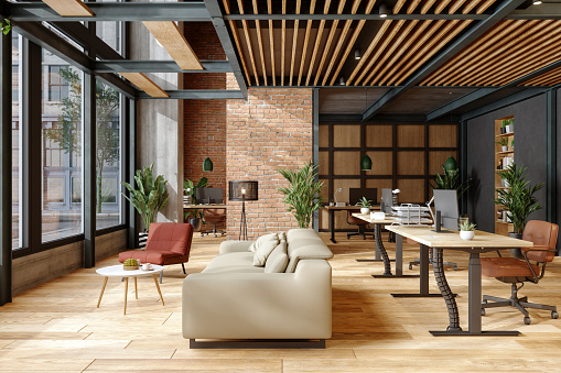 Responsible Business「Eco-Friendly Modern Office Interior With Brick Wall, Waiting Area And Indoor Plants.」:スマホ壁紙(16)