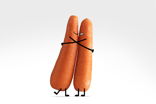Cartoon「Two carrot lovers with illustrated facial features give each other a warm hug」:スマホ壁紙(7)
