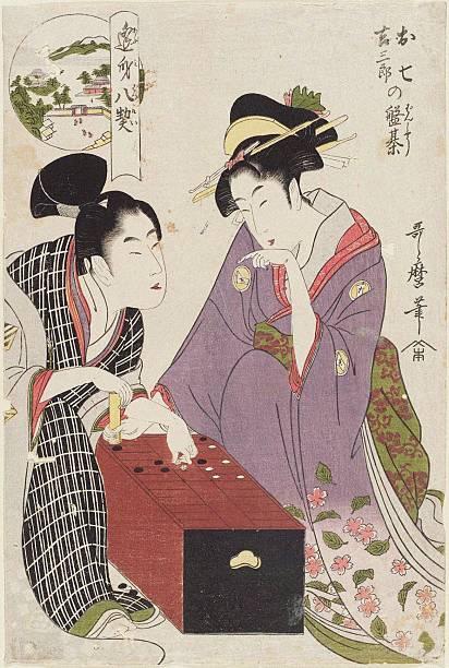 Oshichi and Kichisaburo at the Gameboard (Oshichi Kichisaburo no bansho), 1800:ニュース(壁紙.com)