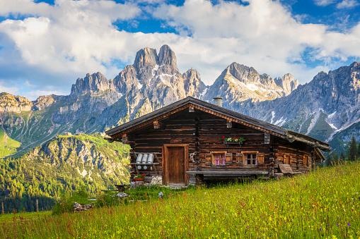 Chalet「Alpine scenery with mountain chalet in summer」:スマホ壁紙(14)