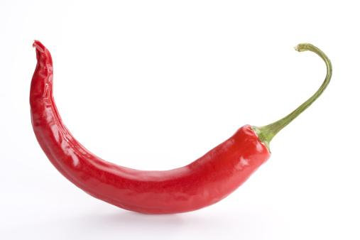 Pepper - Seasoning「single red hot chili pepper on white background」:スマホ壁紙(3)