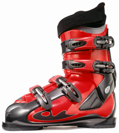 スキー「A single red modern ski boot」:スマホ壁紙(1)