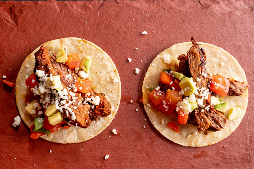 Sour Cream「Beef Carne Asada Mexican Tijuana Style Street Food Tacos with Marinated Steak, Cilantro, Onion, Cotija Cheese and Sour Cream」:スマホ壁紙(1)