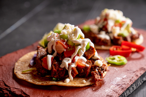 Taco「Beef Carne Asada Mexican Tijuana Style Street Food Tacos with Marinated Steak, Cilantro, Onion, Cotija Cheese and Sour Cream」:スマホ壁紙(7)