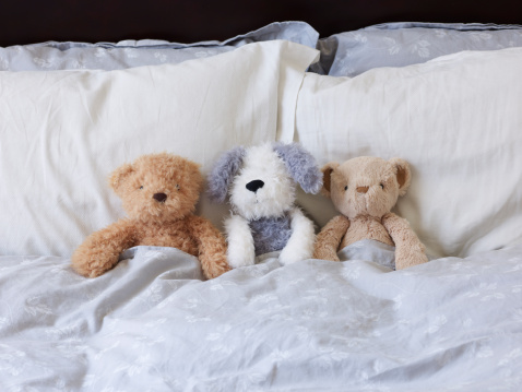 ぬいぐるみ「Three Stuffed Animals In Bed Together.」:スマホ壁紙(8)