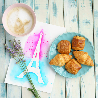 France「French brekfast with Chocolate Croissants and Cappuccino」:スマホ壁紙(16)