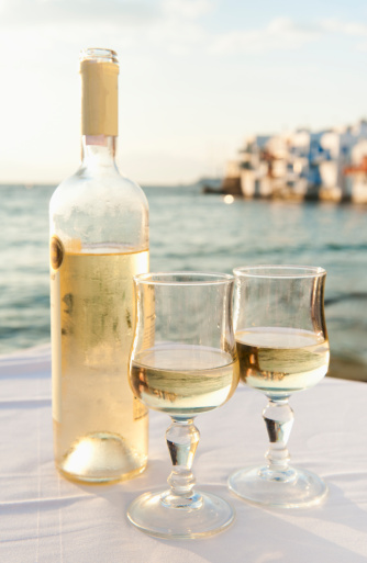 Greece「Greece, Cyclades Islands, Mykonos, Wine on table by sea」:スマホ壁紙(2)