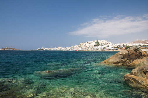Aegean Sea「Greece, Cyclades, Naxos City and harbour」:スマホ壁紙(14)
