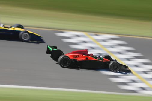 Motor Racing Track「Two formula race cars crossing finish line (Digital Composite)」:スマホ壁紙(15)