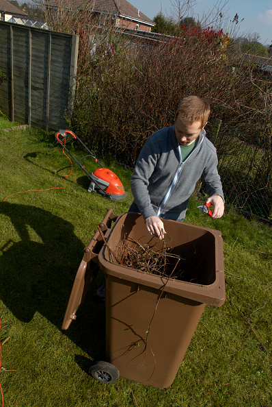 Recycling「Man putting twigs in brown recycling bin」:写真・画像(0)[壁紙.com]