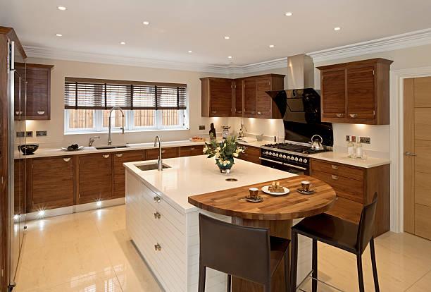 Brightly-lit large modern kitchen:スマホ壁紙(壁紙.com)