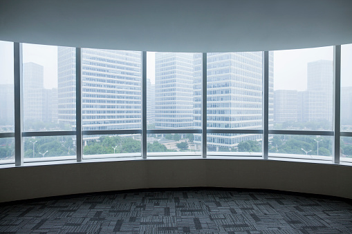 East Asia「View of urban cityscape from empty business office」:スマホ壁紙(5)