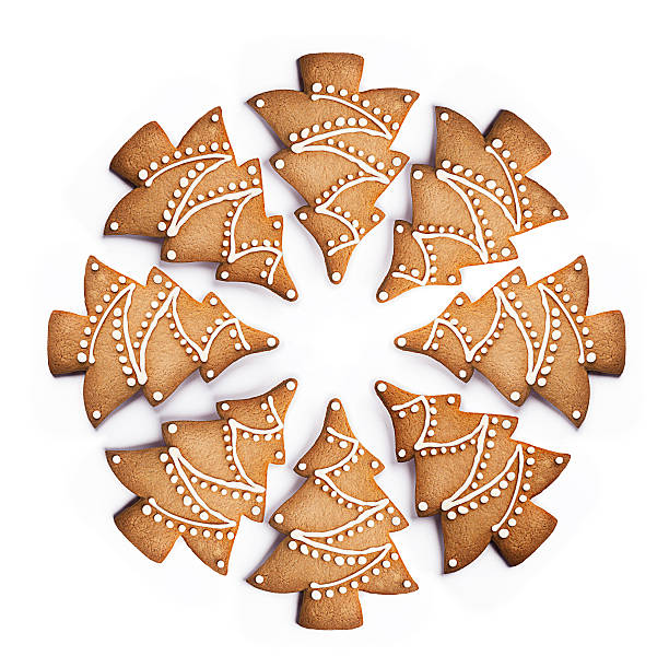 Cookie shaped as Christmas Trees in a circle:スマホ壁紙(壁紙.com)