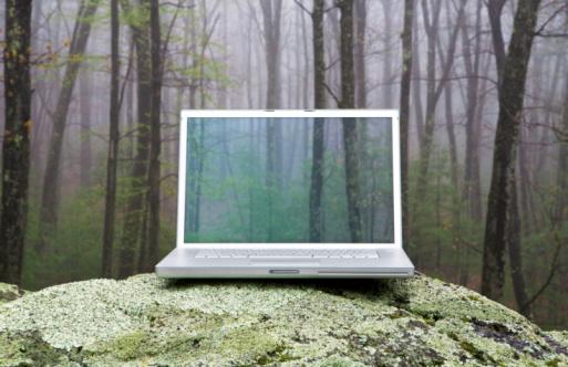 Mystery「Laptop on rock in forest」:スマホ壁紙(13)