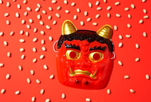 Setsubun「Japanese mask and soy beans」:スマホ壁紙(10)