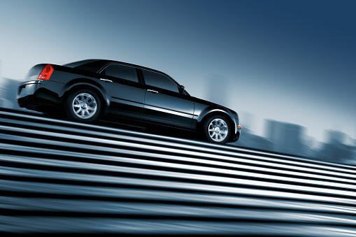 Low Angle View「Black car driving at top of urban staircase」:スマホ壁紙(15)