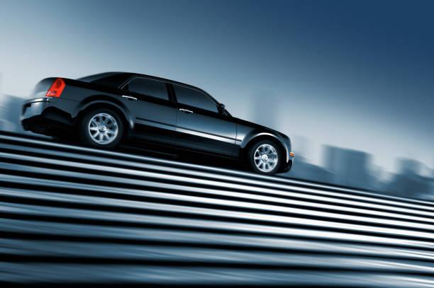 Black car driving at top of urban staircase:スマホ壁紙(壁紙.com)