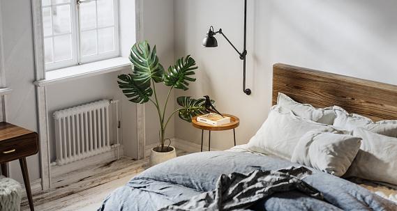 Bed - Furniture「Digitally generated domestic bedroom interior」:スマホ壁紙(13)