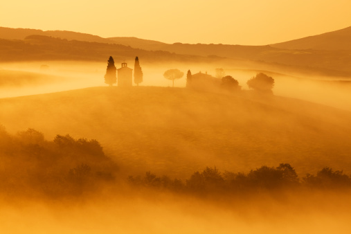 Italian Cypress「Capella di Vitaleta, Morning Fog, Sunrise Light, Tuscany, Italy」:スマホ壁紙(4)