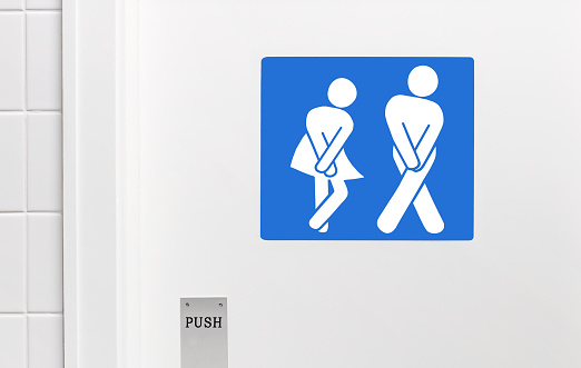 Waiting「Gender neutral toilet sign, legs crossed urgent need to urinate」:スマホ壁紙(5)
