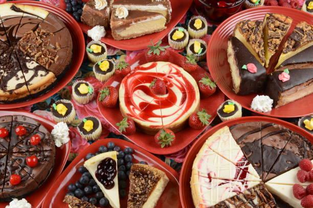 Cheesecakes on Red Plates:スマホ壁紙(壁紙.com)