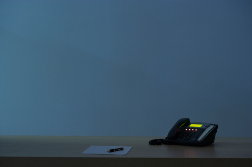 Landline Phone「Telephone on desk at night」:スマホ壁紙(1)