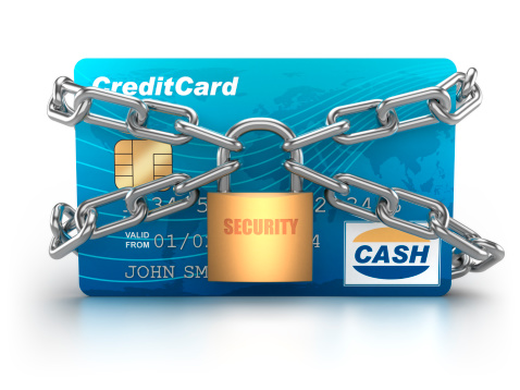 Credit Card「Credit Card chained with padlock - isolated / clipping path」:スマホ壁紙(9)