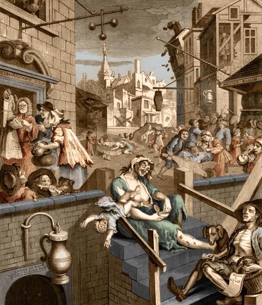 Gin「Gin Lane -  caricature by William Hogarth」:写真・画像(1)[壁紙.com]