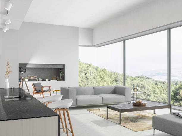 Modern living room and kitchen interior with nature view:スマホ壁紙(壁紙.com)