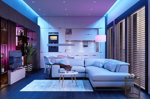Ultraviolet Light「Modern Living Room And Open Plan Kitchen At Night With Neon Lights.」:スマホ壁紙(9)