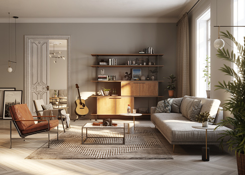 Indoors「Modern living room 3D Rendering」:スマホ壁紙(3)