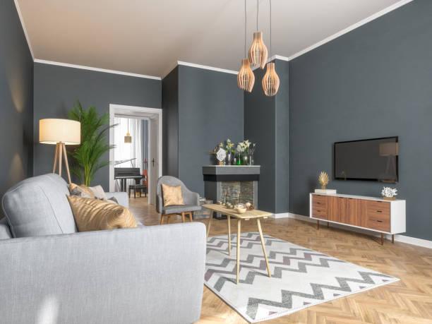 Modern Living Room with Smart Tv:スマホ壁紙(壁紙.com)