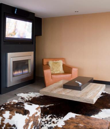 Fur「Modern living room with fireplace and fur rug」:スマホ壁紙(15)