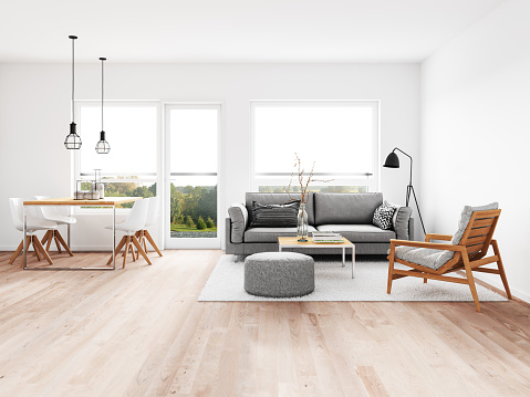Parquet Floor「Modern living room with dining room」:スマホ壁紙(8)
