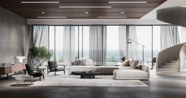 Modern living room in 3d:スマホ壁紙(壁紙.com)