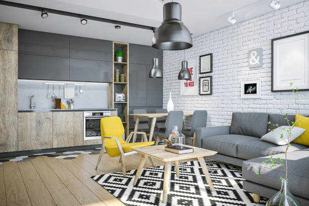 Modern living space with kitchen and yellow details:スマホ壁紙(壁紙.com)