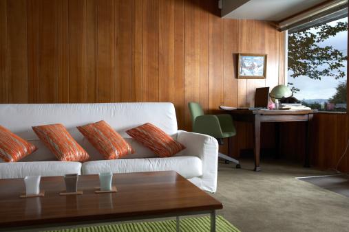 Wood Paneling「Modern living room with desk by window」:スマホ壁紙(3)