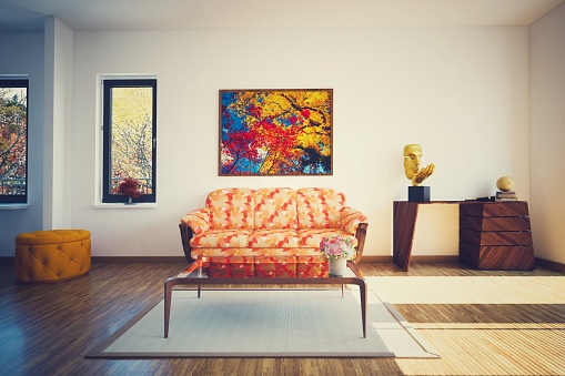 Orange Color「Modern Living Room (Toned Image)」:スマホ壁紙(11)