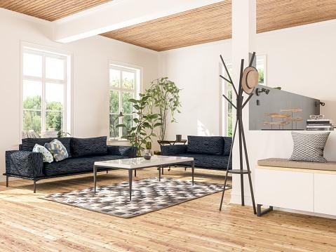 Wood Paneling「Modern Living Room」:スマホ壁紙(17)