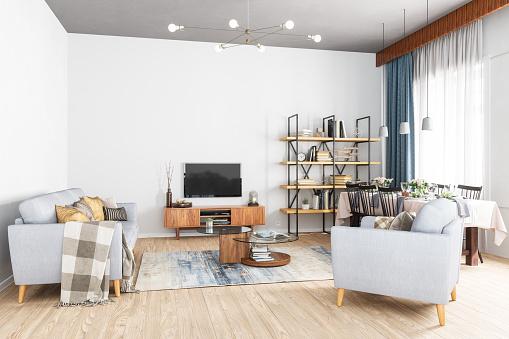 Living Room「Modern Living Room, Smart Tv and Dining Room」:スマホ壁紙(1)