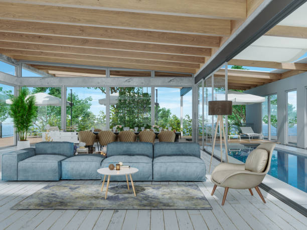 Modern Living Room And Dining Room With Swimming Pool:スマホ壁紙(壁紙.com)