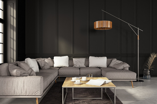 Black Color「Modern Living Room with Corner Sofa」:スマホ壁紙(9)