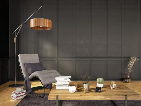Villa「Modern Living Room Detail Armchair with Floor Lamp and Books」:スマホ壁紙(6)