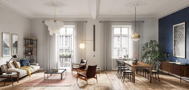 Panoramic「Modern living room interior design in 3d」:スマホ壁紙(4)