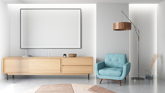 Neon Colored「Modern Living Room Interior with Empty Frame」:スマホ壁紙(15)